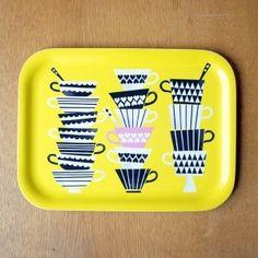 tray by polkkajam Black Window Frames, Black Windows, Home Decor Fabric, Surface Pattern Design, Concrete Floors, Kitchen Dining, Tray, House Design, Inspiration