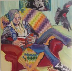 """Rebecca Davies  'Quilt Square/5 generations' acrylic on canvas        36"""" x 36"""""""