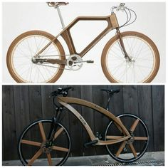Wood wooden frame bicycle bike Wooden Bicycle, Bike Design, Wooden Frames, Natural Wood, Wood Working, Woodworking Projects, Bamboo, Projects To Try, Construction
