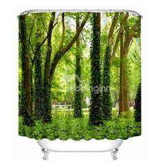 Green Trees and Grasses Print 3D Bathroom Shower Curtain #bath #shower #curtain