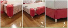 DIY bedskirt - upholster your box springs and get rid of your bed skirt Diy Projects To Try, Home Projects, Home Crafts, Diy Home Decor, Do It Yourself Furniture, Diy Furniture, Bedroom Furniture, Home Bedroom, Bedroom Decor