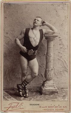 Prussian born, Eugen Sandow, (1867-1925), an international bodybuilder and strongman. Sandow toured America, when he was hired by NYC's Broadway impresario, Florenz Ziegfeld. ~ Pictured here: an American Gilded Age cabinet card taken at:  Falk Studio - 13 and 15 West 24th St., NYC, - Madison Square.  ~ {cwlyons} ~ (Image via: flickr)