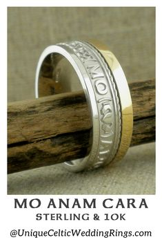 Mo Anam Cara Wedding Ring mm with Rail Edge — Unique Celtic Wedding Rings - Yersq Sites Irish Wedding Rings, Old Town Square, Irish Celtic, Claddagh, Sterling Silver Rings, Rings For Men, Engagement Rings, Unique, Anam Cara