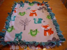 Handmade baby fleece tie blanket with forest friends for a newborn #Handmade