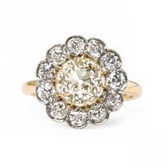 Unbelievable Cluster Halo Ring with Warm Diamond Center   Beverly Hills