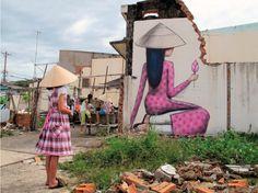 """Vingt années se sont écoulées depuis les premiers tags clandestins de l'élève aux Arts déco sur les murs parisiens, un anniversaire que la galerie Geraldine Zberro marquera du 3 au 14 mars par une exposition intitulée """"Tribute"""". Ici, au Vietnam en 2011."""