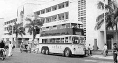 1950s  Penang Double Decker infront Penang Police HQ. Penang Road