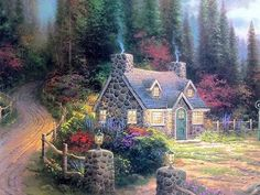 Pine Cove Cottage (Cottage By the Sea II) by Thomas Kinkade Gallery Proof G/P Limited Edition Lithograph on Paper Cute Cottage, Cottage Art, Painted Cottage, Beautiful Paintings, Beautiful Landscapes, Thomas Kinkade Art, Kinkade Paintings, Thomas Kincaid, Fairytale House