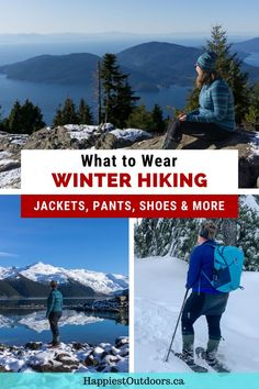 What to wear winter hiking. Winter hiking outfit. Best pants for winter hiking. Best jackets for winter hiking. How to layer for winter hiking. What to wear snowshoeing. Winter Hiking, Winter Travel, Family Adventure, Adventure Travel, Best Travel Gifts, Hiking Tips, Travel Activities, Australia Travel, Solo Travel