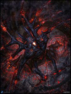 Asmodian - Champion of Hell, version - fantasy character concept by Vlad Marica Dark Fantasy Art, Fantasy Kunst, Fantasy Artwork, Dark Art, Demon Artwork, Monster Art, Arte Horror, Horror Art, Fantasy Creatures