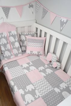 Patchwork cot quilt in Pink and Grey Elephants - Baby Clothing