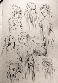 tips for drawing hair in art illustration graphics manga , anime style Hair Sketches - Beauty Illustration, Illustration Sketches, Fashion Illustration Hair, Cool Drawings, Drawing Sketches, Drawing Tips, Sketching, Drawing Ideas, Drawing Faces