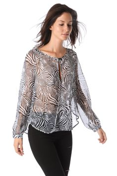 BLACK CHIFFON BLOUSE in ZEBRA PRINT