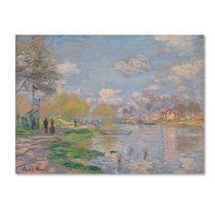Trademark Fine Art 'Spring By The Seine' Canvas Art by Monet, Size: 18 x 24, Blue