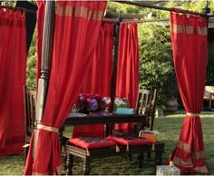 This beautiful curtains are made with an embroidered sari border on the top and bottom, and adjustable tie tops. The fabric is a poly blend for color fastness and durability. Indian Curtains, Silk Curtains, Indian Style Bedrooms, Indiana, Indian Inspired Decor, India Decor, Home Theater Furniture, Hollywood Homes, Beautiful Curtains