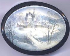 "Fedoskino. Russian Lacquer Art Titled ""winter in Fedoskino"" Artist Ekaterina Aldoshkina"