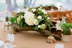 bark/driftwood and floral centrepiece