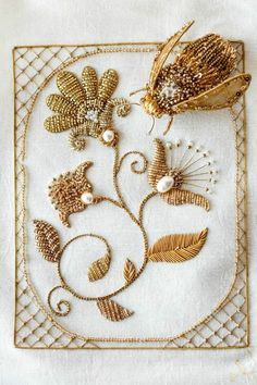 Gorgeous goldwork embroidery by Eve Anders Zardosi Embroidery, Bee Embroidery, Tambour Embroidery, Embroidery Fashion, Embroidery Patterns, Crazy Quilting, Bordados Tambour, Ideias Diy, Lesage