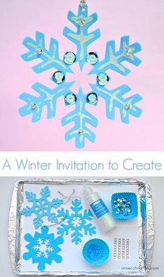 Fine Motor Craft - Winter Snowflake Ornaments so pretty!