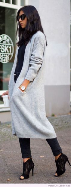 Long gray cardigan for Spring