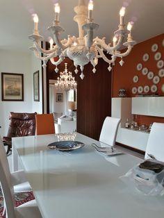 Modern interior. luxury chandelier.  Contemporary classic