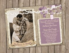 Formal Wedding Invitation Option 2. Use an engagement photo of us, wood background instead of burlap, poem, string lights, mason jars, purple flowers.