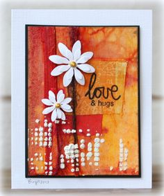 Mixed Media card by Birgit... with fabric