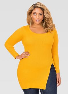 Womens Plus Size Slit Front Fitted Ribbed Sweater