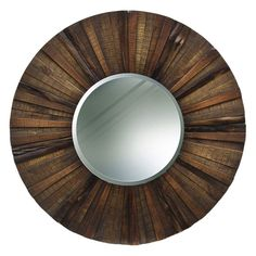 Round Wooden Rustic Wall Mirror 36 Diam In