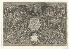 Josef Friedrich Leopold   Titelblad: Ein neues Buch von allerhand Gold-Arbeit, Josef Friedrich Leopold, 1695   De tekst staat in twee cartouches, bedekt met bladranken, guirlandes en festoenen. Titelblad uit serie van 17 bladen.