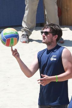 Josh Hutcherson plays in the ASICS World Series Of Volleyball - Celebrity Charity Match on August 23, 2015 in Long Beach, California.