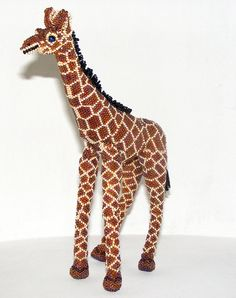 Giraffe Bead Art  9 T x 7 L by MayanMajix on Etsy