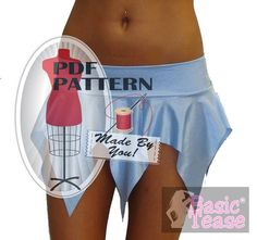 103c71f02 Micro Mini Jagged Edge Stripper Skirt Sewing Pattern for Exotic Dancers and  Strippers