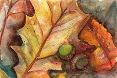 Original Autumn Leaves and Acorns Watercolor  by SharonFosterArt