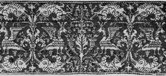 Linen, with fine rectangular mesh ground formed by drawing back threads and whipping them with red silk, with details of the design of crowned birds, dolphins, and conventionalized plant forms worked in back stitch in same color. Pieced.