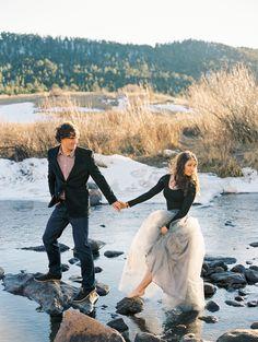 Creek Whimsical Engagement Session, Rocky Mountain National Park, Estes Park, Tulle Skirt, Engagement Photography Photo: Cassidy Brooke Photography www.cassidybrooke.com