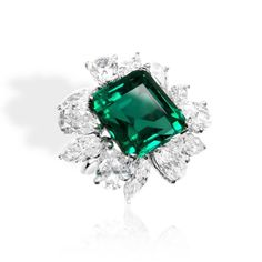 Joseph Gad Inc.  Incredible Minor Oil Colombian Beauty Surrounded By Dazzling Diamonds.