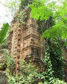 Jora mandir (twin temple) ruins in Gopalganj village, Dinajpur. The two temples (12-sided and quadrangular) are established by Raja Ramnath in 1754 AD.