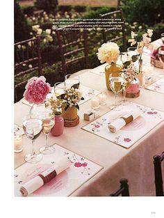 Pretty spring blossom table setting