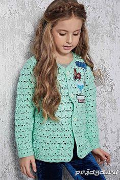 Crochet Dress Girl, Crochet Tunic, Crochet Jacket, Knit Dress, Free Crochet, Crochet Baby Sweaters, Crochet Clothes, Baby Patterns, Crochet Patterns