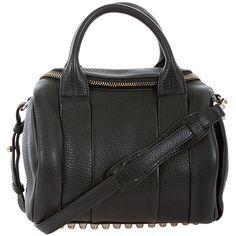 Alexander Wang black pebble grain leather studded Rockie handbag