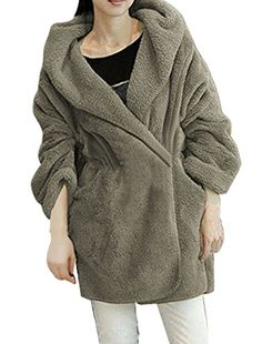 Women Gray Long Sleeve Fluffy Hoodie Winter Coat S -- Check out the image by visiting the link.