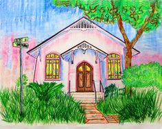 Pastel Print of Derby St. Chapel Free Shipping USA by WGilroy, $5.00