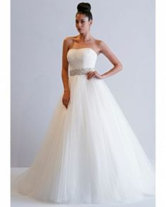 Wedding Dresses for Fall 2013 by Dennis Basso Dress with full skirt with tulle and jewel belt