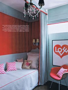 midcentury modern meets dorothy draper......this is scarlett's room layout, exactly....LOVE this idea