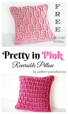 Pretty In Pink Reversible Pillow By Maria Bittner - Free Crochet Pattern - (pattern-paradise)