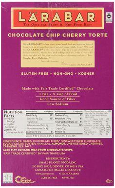 LARABAR Fruit & Nut Food Bar, Choc Chip Cherry Torte, Gluten Free, 1.6 oz. Bars, (Pack of 16): Amazon.com: Grocery & Gourmet Food