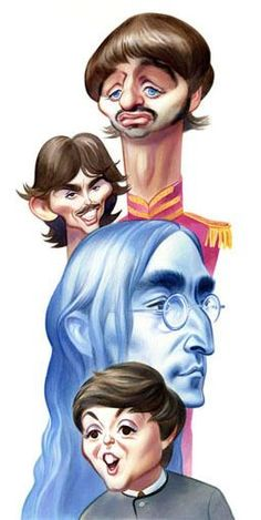 The Beatles / Entertainment Weekly : color : John Kascht caricature portraits ~ Ʀεƥɪииεð вƴ╭ Funny Caricatures, Celebrity Caricatures, Cartoon Faces, Funny Faces, Rock And Roll, Beatles Art, Caricature Drawing, Dibujos Cute, Celebrity Drawings