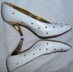 ESCADA Vintage High Heels Shoes White Leather Gold Studs 7 37 B HapaChico Haute #ESCADA #Heels
