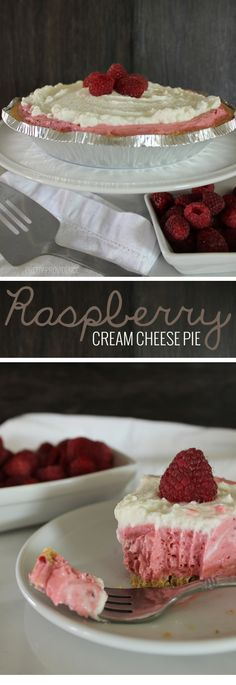 Raspberry Cream Cheese Pie - this pie is an absolute DREAM!! Creamy, flavorful and delicious and it only takes five minutes to whip together!!